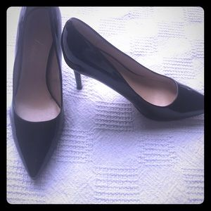 "Marc Fisher Black Leather Paten 4"" heels size 9"